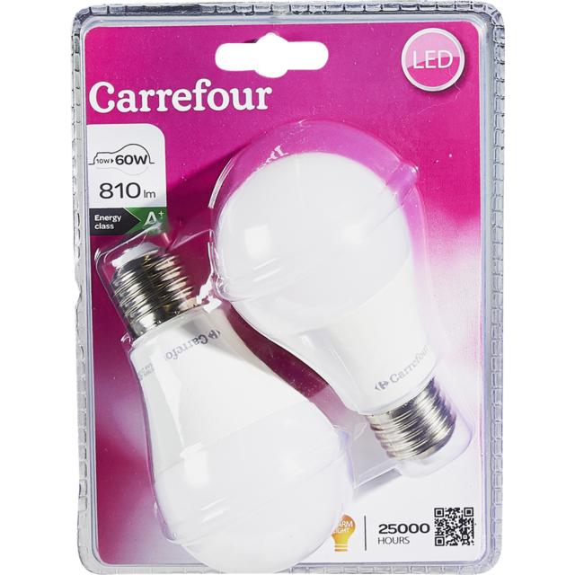 carrefour lot de 2 ampoules led standard 10 w e27 pas cher achat vente ampoules led. Black Bedroom Furniture Sets. Home Design Ideas