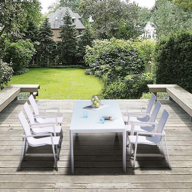 Cemonjardin - Salon de jardin aluminium et verre 6 fauteuils ...