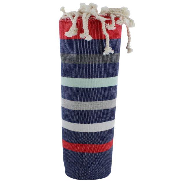 b2b88c5fe9 Les Poulettes Bijoux - Fouta Drap Plage et Hammam Coton Couleur Bleu Marine  Rayé Rouge Blanc