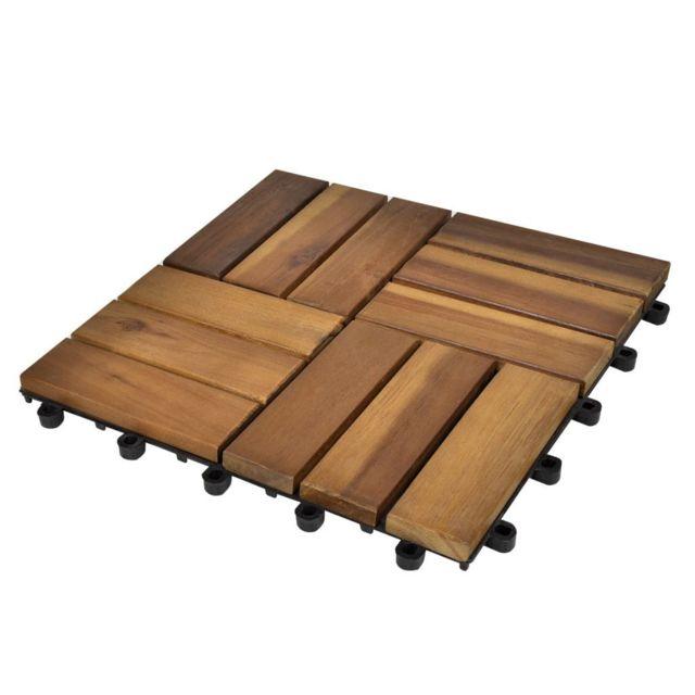 Vidaxl Kit tuiles de plancher en acacia 30 x 30 cm 30 pcs   Brun