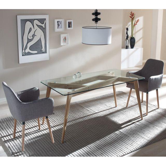 Tousmesmeubles Table de repas Verre - Samba - L 160 x l 90 x H 76