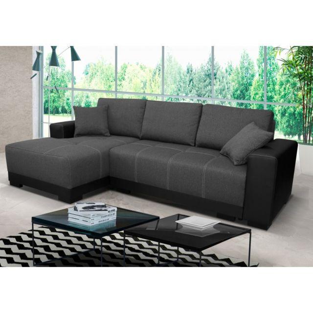 Rocambolesk Canapé Lido noir gris gauche sofa divan