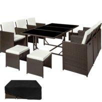 Salon de Jardin MALAGA Ensemble avec 6 Chaises 4 Tabourets et 1 Table en  Résine Tressée et Acier avec 1 Housse Marron Foncé