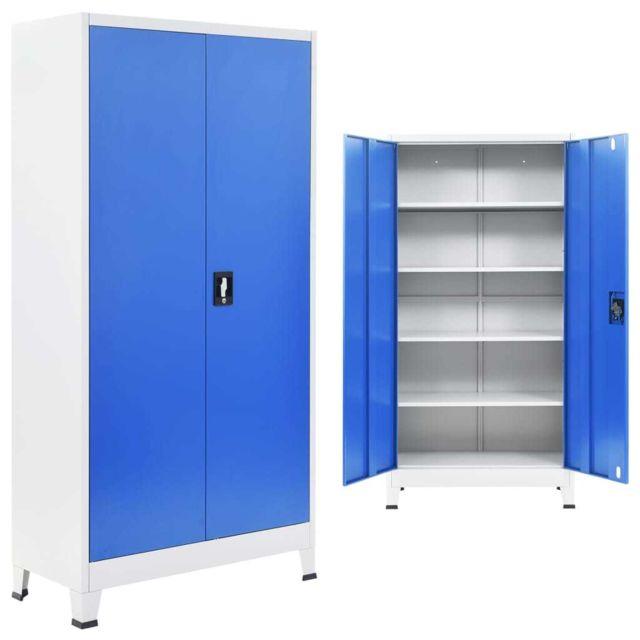 Vidaxl Armoire De Bureau Metal 90x40x180 Cm Gris Et Bleu Meuble