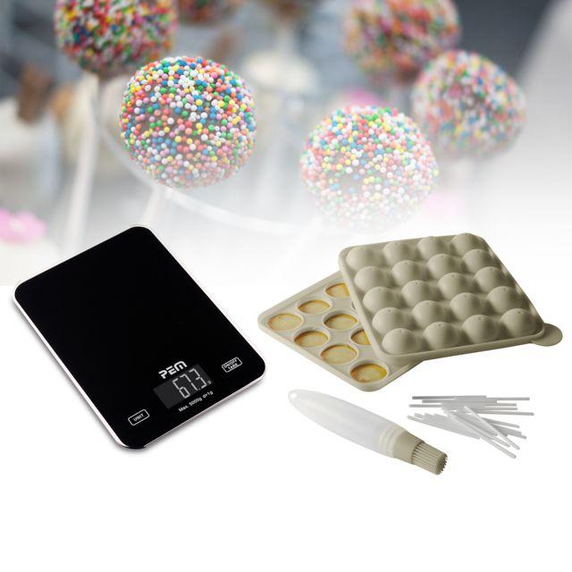 Pem Kit moule cakepops bâtonnets et pinceau + Balance culinaire en verre avec écran digital
