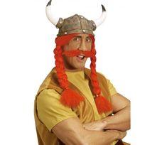 Marque Generique - Casque de viking / gaulois avec nattes et moustache adulte