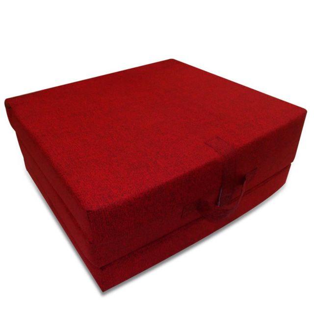 Icaverne - Matelas ensemble Matelas en mousse pliable en 3 sections 190 x 70 x 9 cm Rouge