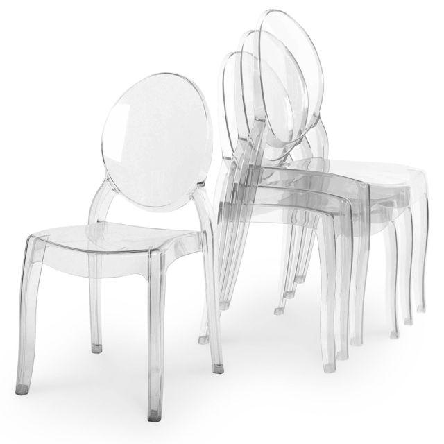 La Chaiserie Lot de 4 chaises design transparentes plexi Iris