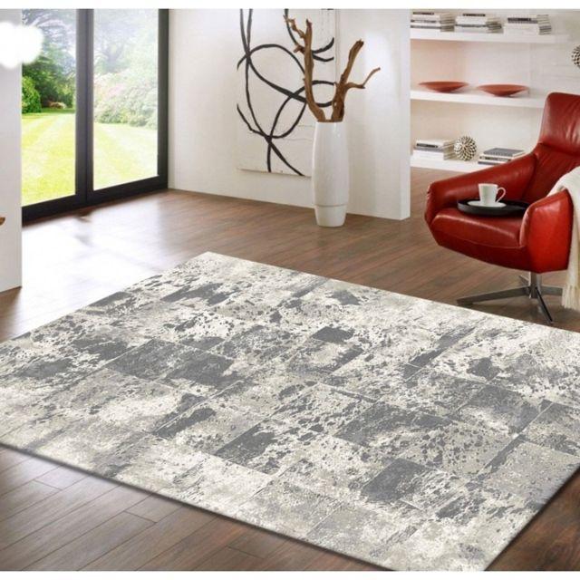 Tapis de salon déco - Assos - Design moderne tacheté - Nuances de gris - 80  X 150 cm