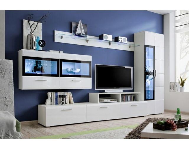 Dusine Ensemble Tv Bianca 3m avec armoire vitrine Laqué et Led modulable