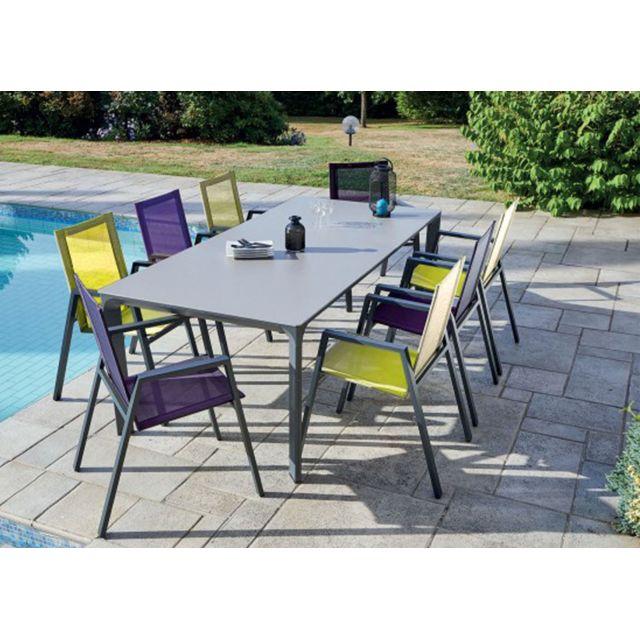 Ensemble de jardin en aluminium avec une table et 8 fauteuils violet et  vert pomme