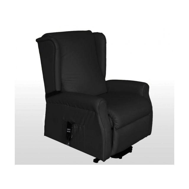 befara fauteuil relax elevateur 2 moteurs cautis noir simili cuir pas cher achat vente. Black Bedroom Furniture Sets. Home Design Ideas