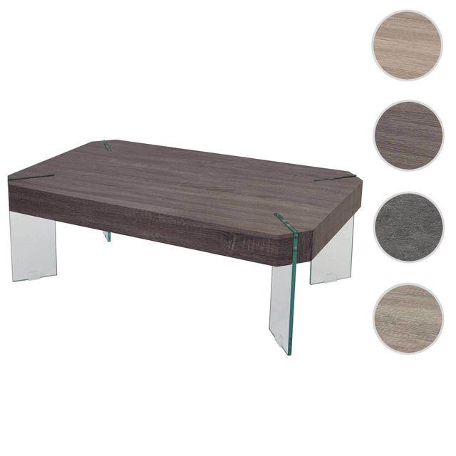 Mendler Table basse de salon Kos T578, Fsc 40x110x60cm ~ aspect chêne foncé, pieds en verre