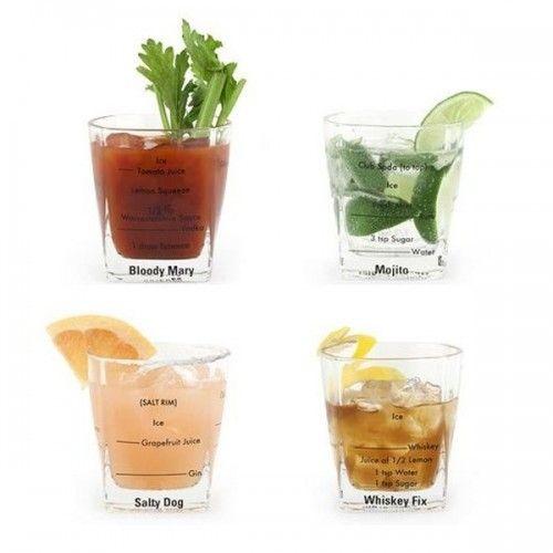 Kikkerland Set de 4 verres à cocktail 'Recettes