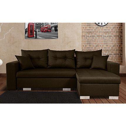Canapé d'angle à droite convertible avec coffre coloris marron