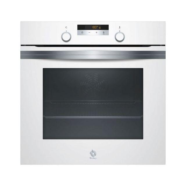 Totalcadeau Four à pyrolyse multifonction avec plaque tournante blanc - Four de cuisine