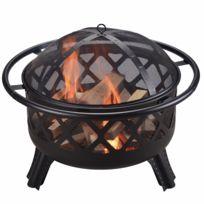 Braséro extérieur jardin en acier brûleur bois avec couvercle grille et tisonnier noir CU296