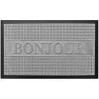 Promobo - Paillasson Entrée Gris Tapis Luxe Antidérapant Caoutchouc Inscription Bonjour 45 x 75cm