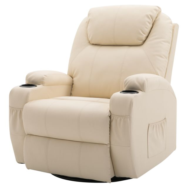 Homcom Fauteuil Canapé Sofa Relaxation Massant Chauffant Et