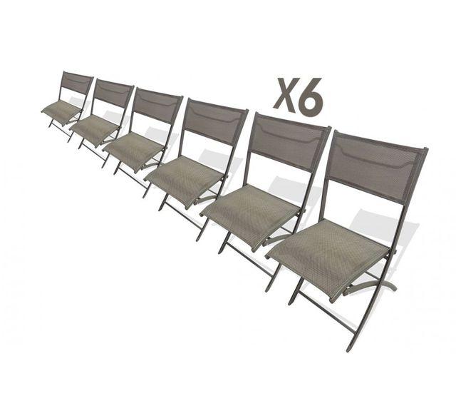 Dcb Garden Lot de 6 chaises pliantes cappuccino