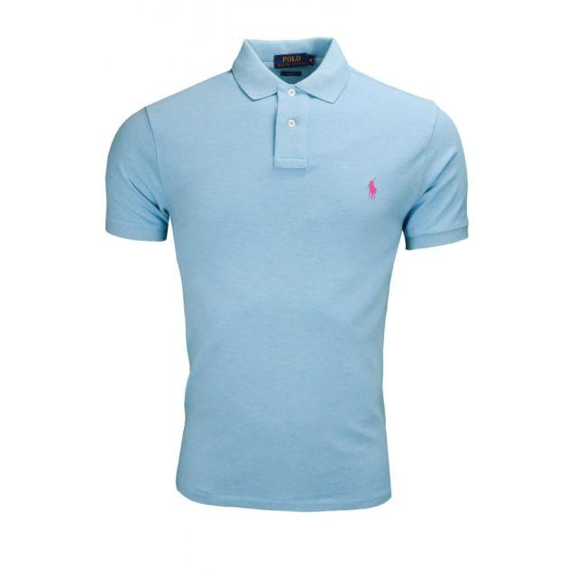 Polo bleu turquoise chiné slim fit 2 boutons pour homme