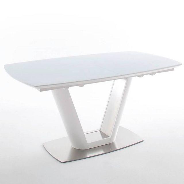 Inside 75 Table repas extensible design Vitali blanc laqué mat 160 x 95 cm