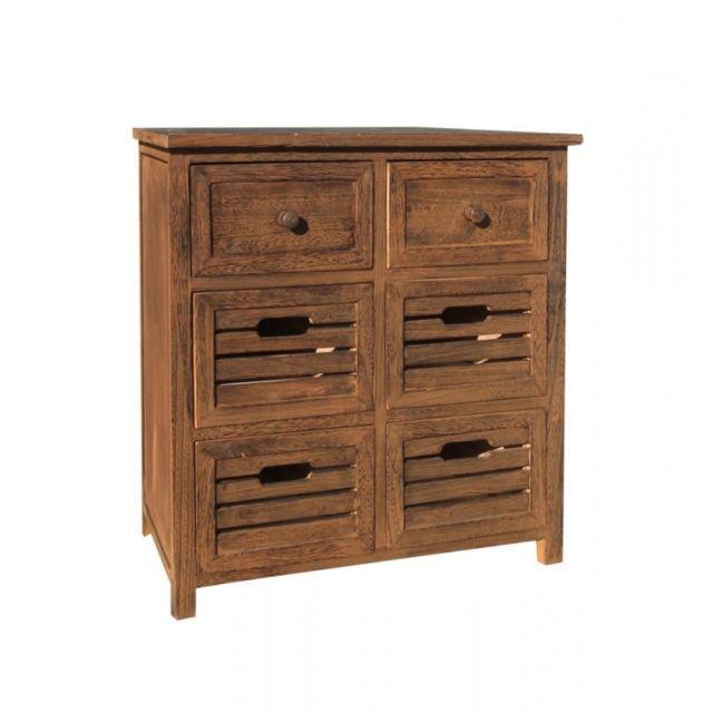 mobili rebecca commode buffet 6 tiroirs bois marron vintage retro chambre salle de bain salon. Black Bedroom Furniture Sets. Home Design Ideas