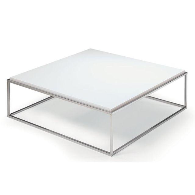 Inside 75 Table basse carrée Mimi Xl blanc mat structure acier inoxydable poli