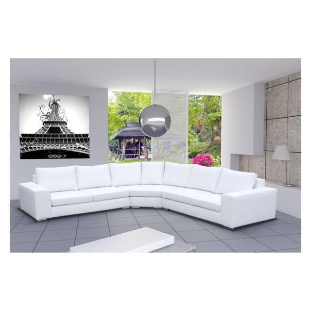 pas cher pour réduction b2305 b6db3 Grand Canapé d'angle design 6 places CARI simili cuir