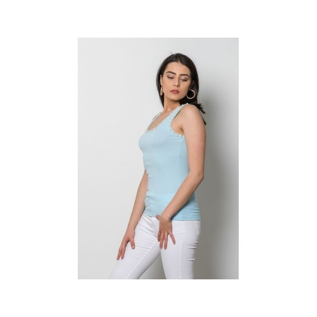 Princesse Boutique - Débardeur Turquoise avec perles Taille unique ... 24d3adc3b51