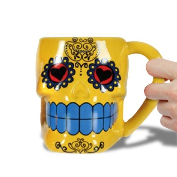 De Forme Mort En Mug Tête Tasse Totalcadeau Jaune Mexicaine mOy0vwNnP8
