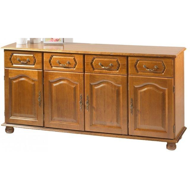beaux meubles pas chers meuble enfilade ch ne 4 portes 4 tiroirs pas cher achat vente. Black Bedroom Furniture Sets. Home Design Ideas
