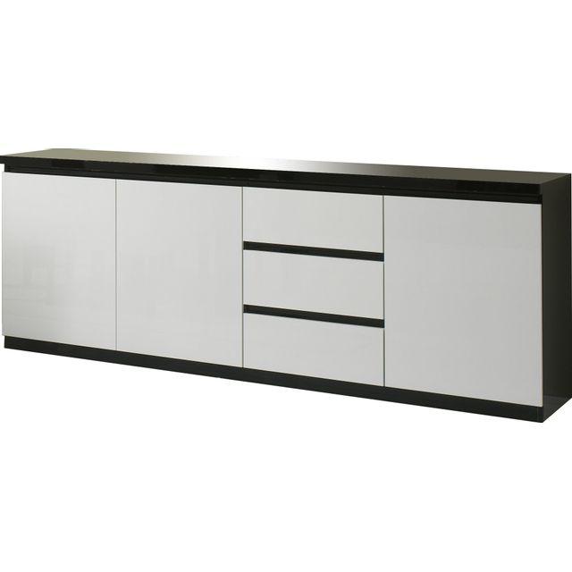 Comforium Bahut design noir et blanc laqué à 3 portes et 3 tiroirs