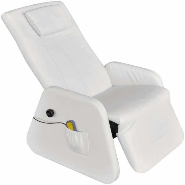 Helloshop26 Fauteuil de massage confort relaxant massant détente électrique cuir synthétique blanc 1702033