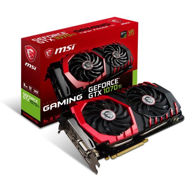 MSI GeForce GTX 1070 Ti Gaming – 8Go Redécouvrez le monde du gaming avec la GeForce GTX 1070 Ti GAMING. Muni de l'architecture Pascal et compatible avec les dernières innovations informatiques, elle vous vous offre une expérienc