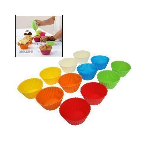 Yonis 12 Moules a muffin en silicone multicolore 6.5 cm de diamètre