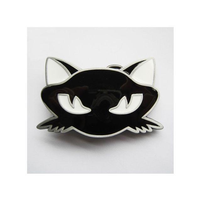 Universel Boucle de ceinture chat noir rockabilly noir blanche pin up