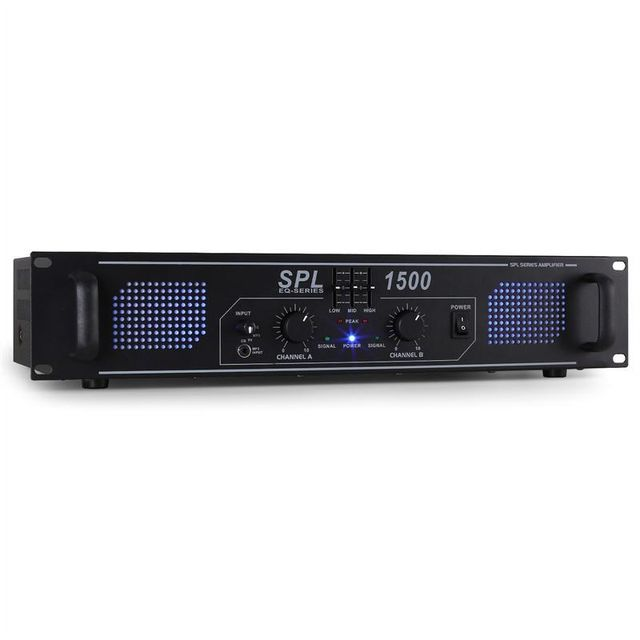 SKYTEC SPL-1500-EQ Ampli HiFi PA égaliseur 3 bandes 3x RCA 1x AUX 2x 750w max