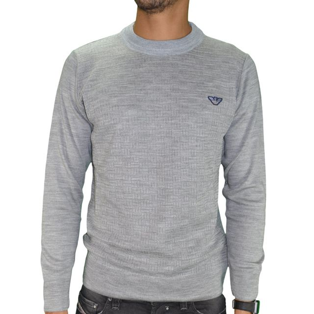 dcb0fb946ab1c Armani - Jeans - Pull Fin - Col Rond - Homme - Sweater Coton 04 - Gris Clair  - pas cher Achat / Vente Sweat homme - RueDuCommerce
