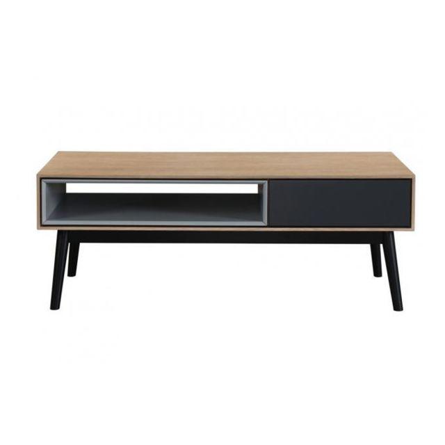 Declikdeco Table basse Bois Noir 1 niche 1 tiroir Hourn