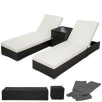 f591bfcddfcd75 Helloshop26 - Chaise longue bain de soleil en résine tressé poly rotin noir  + table +