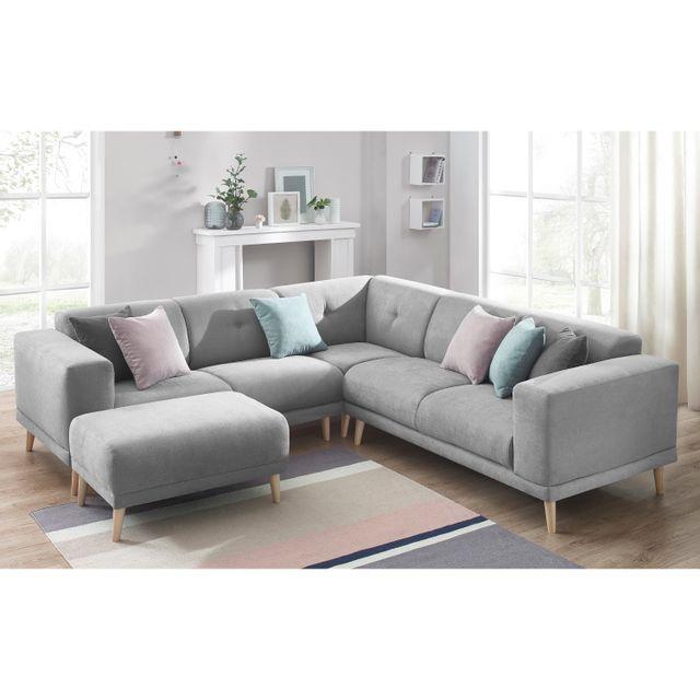 bobochic canape d 39 angle panoramique avec pouf luna gris clair achat vente canap s pas. Black Bedroom Furniture Sets. Home Design Ideas