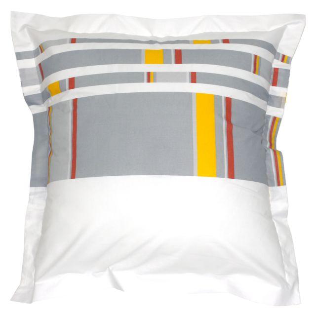 Taie d'oreiller 65x65 cm 100% coton HELSI blanc Moutarde