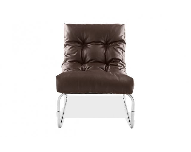 Skedia Fauteuil design simili cuir marron