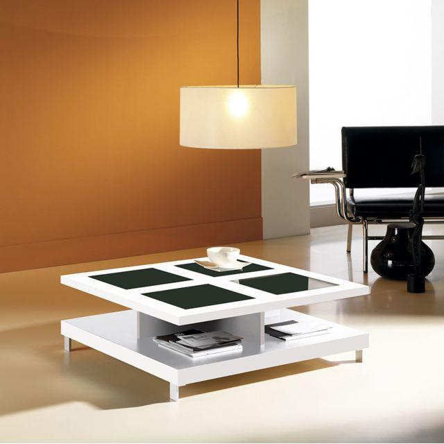 Kasalinea Table basse carrée blanc brillant avec 2 plateaux contemporaine Gwenn