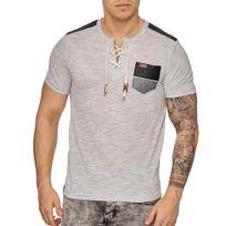 Marque Generique - Tee shirt mode homme Tee shirt 2933 gris clair