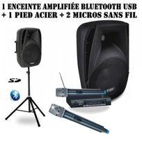 Ibiza Sound - Pack sono portable Enceinte amplifiée 150W + Pied + 2 Micros sans fil Pa-dj