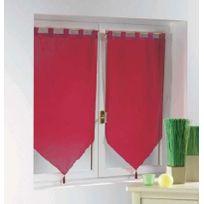 Douceur D'INTERIEUR - Une paire de rideau voilage passants pompon 60 x 90 cm voiline rouge