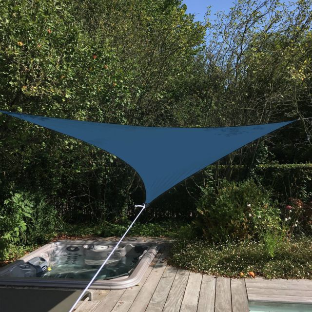 ALICE'S GARDEN - Voile d'ombrage triangulaire extensible EASYWIND 3,6 x 3,6 x 3,6m - Bleu - Anti UV UPF 50
