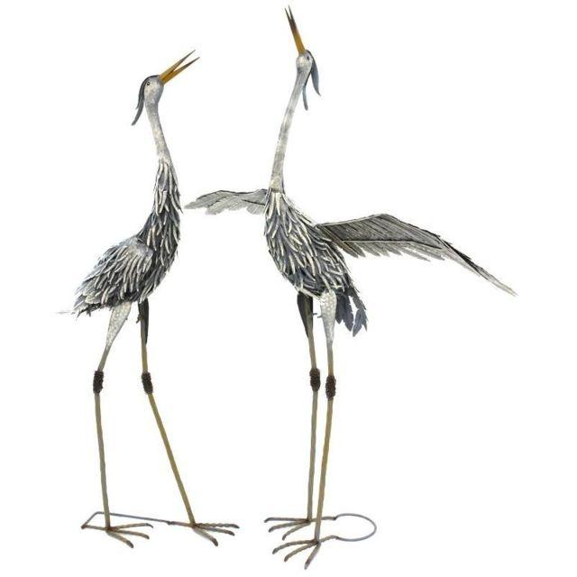 Chemin De Campagne Statue Sculpture Héron Oiseau Couple de Hérons en Fer Oiseaux de Jardin 120 cm